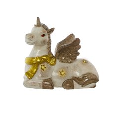 Home Seasonal Decorations - Sparkle Unicorn Decoration Antique Cream with LED 29.5x28.5H