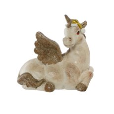 Christmas Ornaments - Sparkle Unicorn Antique Cream Decoration (29.5x28.5H)