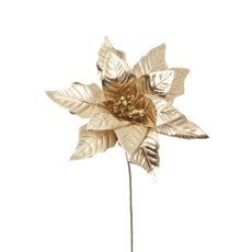 Christmas Flowers - Poinsettia Flower Metallic Champagne Gold (23cm)