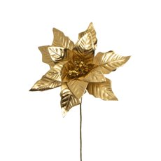 Christmas Flowers - Poinsettia Flower Metallic Gold (23cmH)