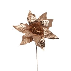 Christmas Flowers - Poinsettia Flower Metallic Rose Gold (23cm)