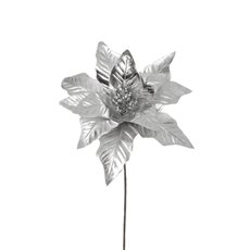 Christmas Flowers - Poinsettia Flower Metallic Silver (23cm)
