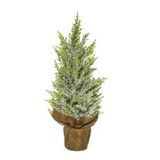 Decorative Christmas Trees - Christmas Tree Snowy Pine Potted Burpap White (46cmH)