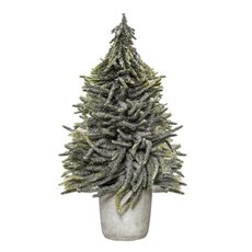 Decorative Christmas Trees - Christmas Tree Norfolk Snow Pine in Cement Pot White (53cmH)