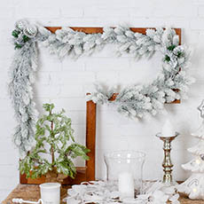 Christmas Garlands - Snowy Pine Christmas Garland White (180cm)
