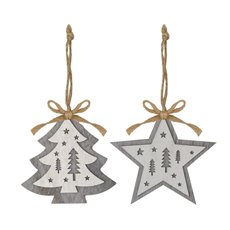 Christmas Tree Decorations - Hanging Wooden Decoration Tree Star Grey (10cm) Set 2