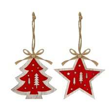 Christmas Tree Decorations - Hanging Wooden Decoration Tree Star Red (10cm) Set 2