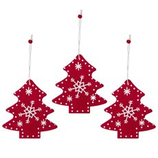 Christmas Tree Decorations - Hanging Wooden Decoration Tree Red (8cm) Pack 3