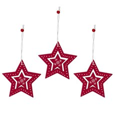 Christmas Tree Decorations - Hanging Wooden Decoration Star Red (8cm) Pack 3