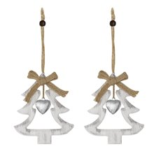 Christmas Tree Decorations - Hanging Wooden Decoration Tree with Bell (12cm) Pack 2