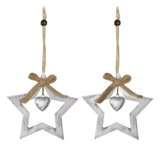 Christmas Tree Decorations - Hanging Wooden Decoration Star with Bell (12cm) Pack 2