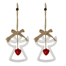 Christmas Tree Decorations - Hanging Wooden Decoration Angel with Bell (12cm) Pack 2
