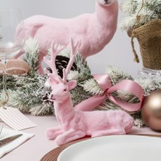 Christmas Ornaments - Flocked Reindeer Sitting Light Pink (18x16cmH)
