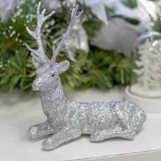 Christmas Ornaments - Glitter Reindeer Sitting Silver (18x16cmH)