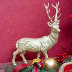 Christmas Ornaments - Glitter Reindeer Standing Champagne Gold (39cmH)