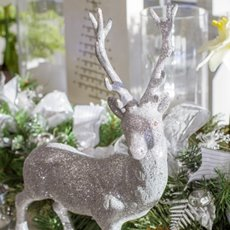 Christmas Ornaments - Glitter Reindeer Standing Silver (39cmH)