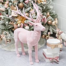 Christmas Ornaments - Giant Flocked Reindeer Standing Light Pink (76cmH)
