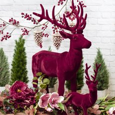 Christmas Ornaments - Giant Flocked Reindeer Standing Red (76cmH)