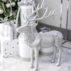 Christmas Ornaments - Giant Glitter Reindeer Standing Silver (76cmH)