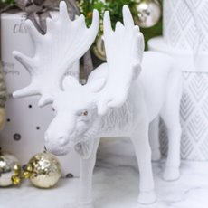Christmas Ornaments - Flocked Moose Standing White (37cmH)