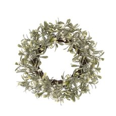 Home Seasonal Decorations - Frosted Mistletoe Wreath White Berry (50cm)