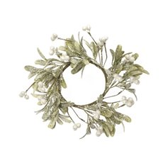 Home Seasonal Decorations - Frosted Mistletoe Candle Ring White Berry (30cm)