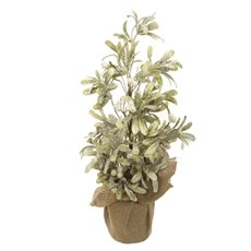 Decorative Christmas Trees - Frosted Mistletoe Christmas Tree Potted White Berry (50cm)
