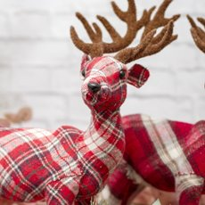 Christmas Ornaments - Gingham Fabric Standing Reindeer Red (36cm)