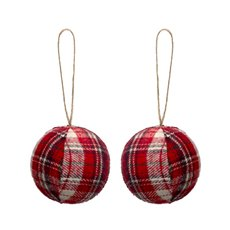 Christmas Baubles - Gingham Fabric Baubles Red Pack of 2 (8cm)
