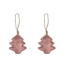 Christmas Tree Decorations - Velvet Hanging Christmas Tree Pack 2 Pink (10cm)