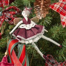 Christmas Tree Decorations - Velvet Character Decoration Ballerina Arabesque Red (25cm)