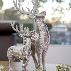 Christmas Ornaments - Fabric Reindeer Decoration Silver (70cm)