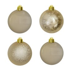 Christmas Baubles - Hanging Christmas Bauble Champagne Gold (5cm) Pack 8