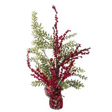 Home Seasonal Decorations - Fresh Berry with Green Leaves Tree (60cm)