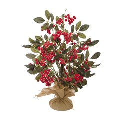 Home Seasonal Decorations - Frosted Berry with Green Leaves Tree (50cm)