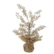 Home Seasonal Decorations - Glitz Berry Tree Champagne Gold (50cm)