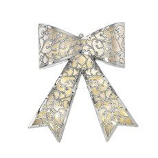 Christmas Wreath - Hanging LED Bow Silver (43x31cm)