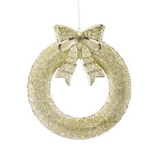 Christmas Wreath - Hanging LED Wreath Gold (53x46cm)