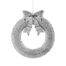 Christmas Wreath - Hanging LED Wreath Silver (53x46cm)