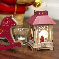 Christmas Ornaments - Christmas Light Up Ornament Wooden Lantern Red (10x17cm)