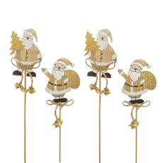Christmas Picks - Wooden Christmas Picks Santa Pack 6 Gold (8x35cm)