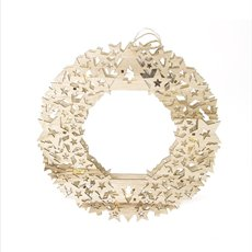 Christmas Wreath - Christmas Light Up Wooden Wreath Natural (30cm)