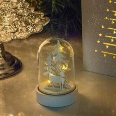 Christmas Ornaments - Christmas Light Up Cloche LED White (8x12cm)