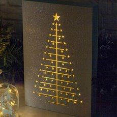Christmas Ornaments - Christmas Light Up Table Decoration LED Glitter White (30cm)