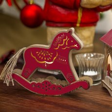 Christmas Ornaments - Christmas Light Up Rocking Horse LED Red (20x16.5cm)