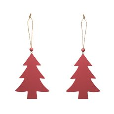 Christmas Tree Decorations - Wooden Hanging Christmas Tree Pack 2 Red (14cm)