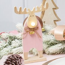 Christmas Ornaments - Christmas Light Up Wooden Moose LED Pink (13.5x21cm)