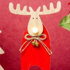 Christmas Ornaments - Christmas Light Up Wooden Moose LED Red (13.5x21cm)