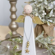 Christmas Ornaments - Wooden Angel Decoration White (13x30cm)