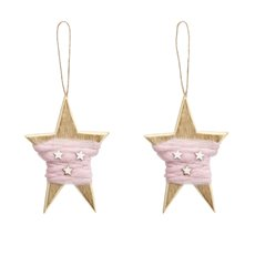 Christmas Tree Decorations - Hanging Star Wrapping with Wool Pack 2 Pink (9x13cm)